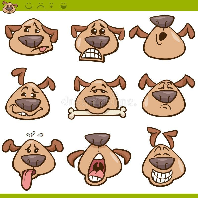 Grupo da ilustração dos desenhos animados dos emoticons do cão ilustração royalty free