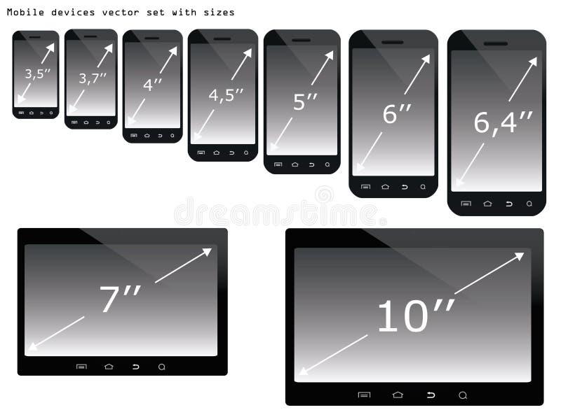Grupo da ilustração dos tamanhos dos dispositivos móveis ilustração royalty free
