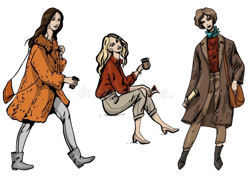 Grupo da ilustração da forma do vetor de três meninas à moda no estilo da forma da rua em cores marrons e alaranjadas cinzentas i ilustração royalty free