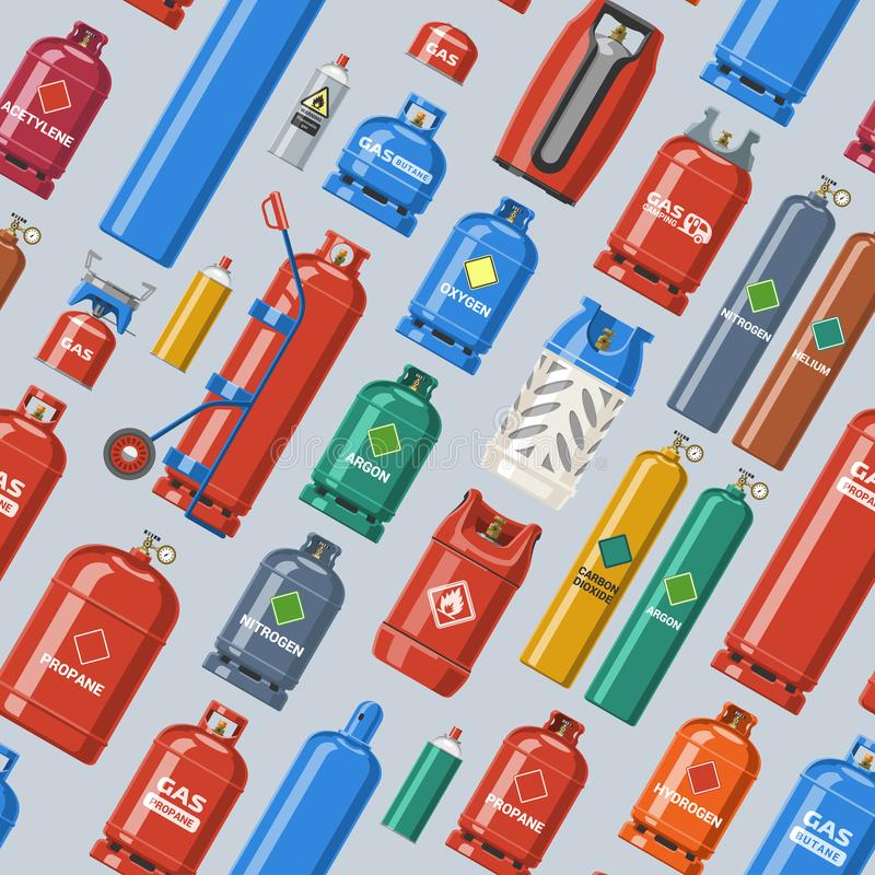 Grupo da ilustração da gás-garrafa e do gás-cilindro do lpg do vetor do cilindro de gás de recipiente cilíndrico com liquefeito c ilustração stock