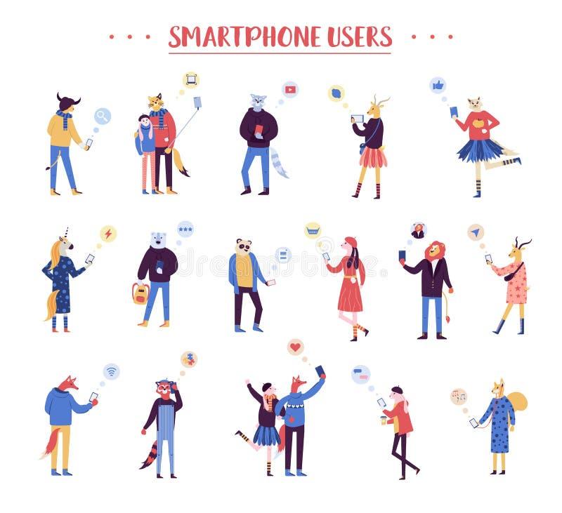 Grupo da ilustração masculina e fêmea dos desenhos animados Caráteres que guardam smartphones e que texting, tomando o selfie, fa ilustração do vetor