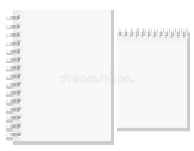 Grupo da ilustração vazia branca do vetor do caderno ilustração royalty free
