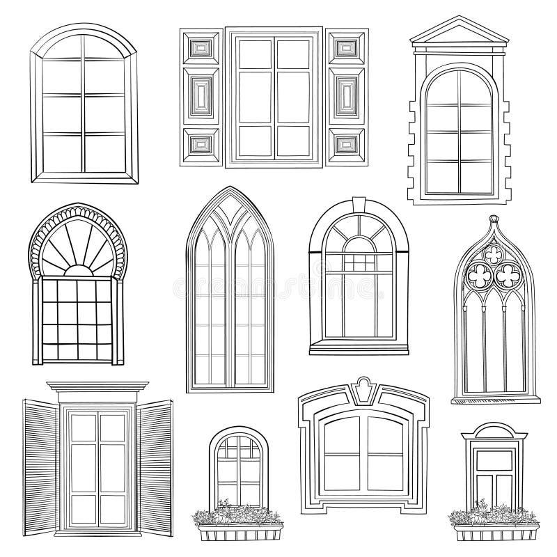 Grupo da janela ilustração stock