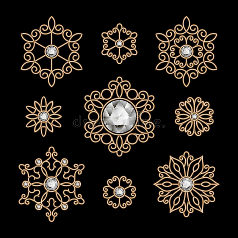 Grupo da joia do ouro ilustração do vetor