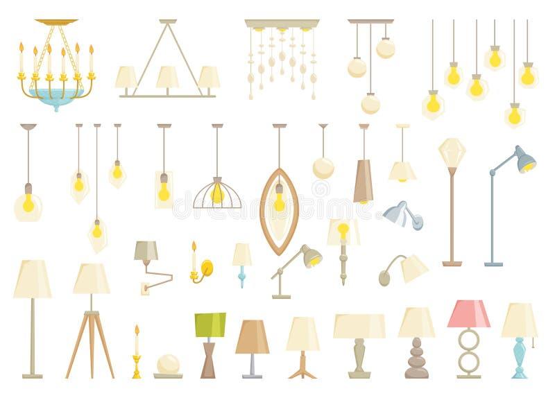 Grupo da lâmpada ilustração stock