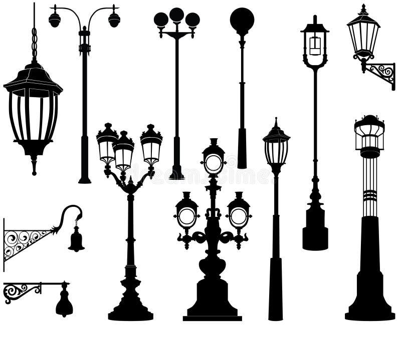 Grupo da lâmpada de rua ilustração royalty free