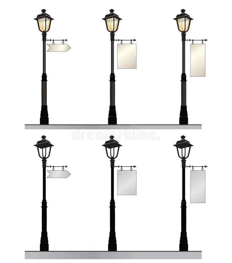 Grupo da lâmpada de rua Luzes de rua retros com um sinal para anunciar ilustração do vetor