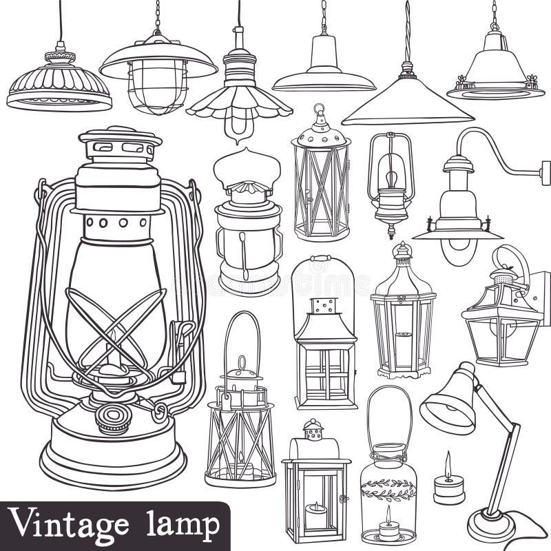 Grupo da lâmpada do vintage ilustração royalty free
