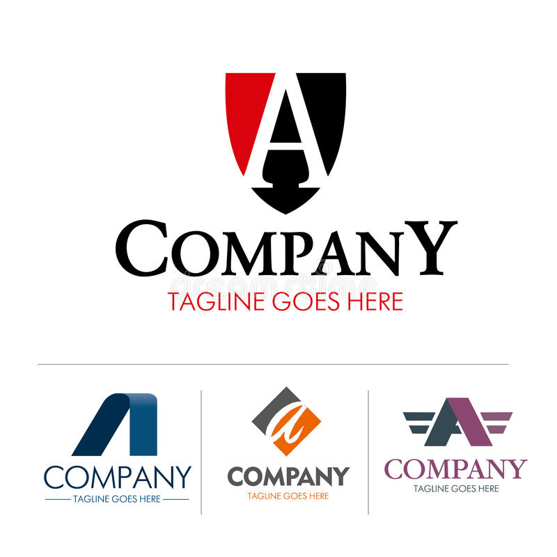 Grupo da letra A do logotipo ilustração stock