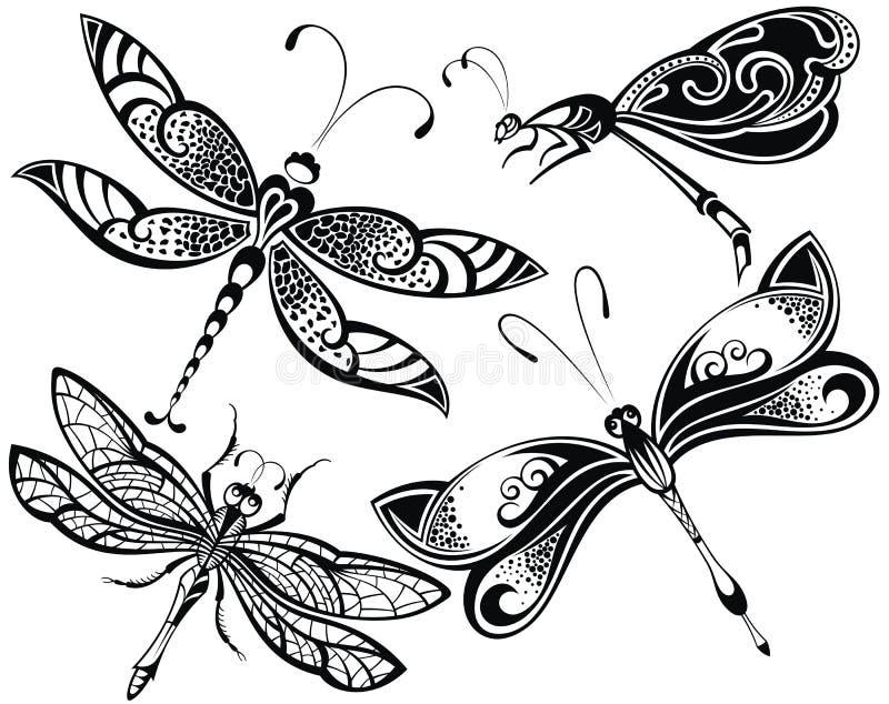 Grupo da libélula ilustração stock