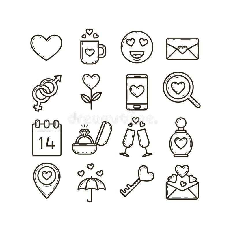Grupo da linha ícones da arte no tema do dia do ` s do Valentim ilustração royalty free