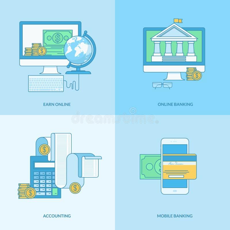 Grupo da linha ícones do conceito para Internet banking ilustração do vetor