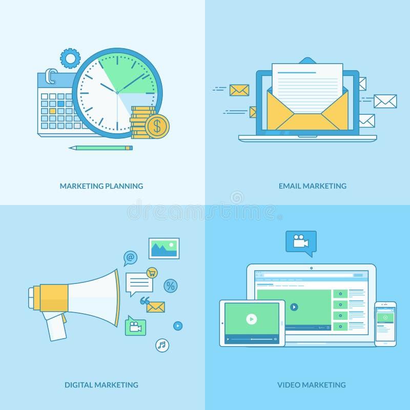 Grupo da linha ícones do conceito para o mercado digital ilustração do vetor