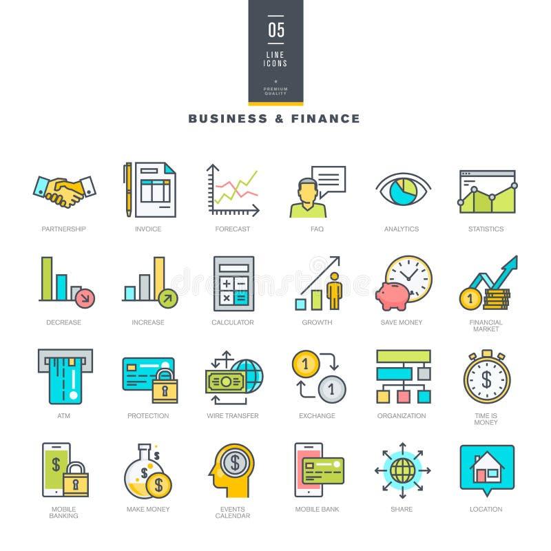 Grupo da linha ícones modernos da cor para o negócio e a finança ilustração stock