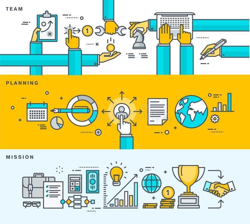 Grupo da linha fina bandeiras lisas do projeto para o negócio, perfil da empresa, gestão, trabalho da equipe, planeamento, missão ilustração stock
