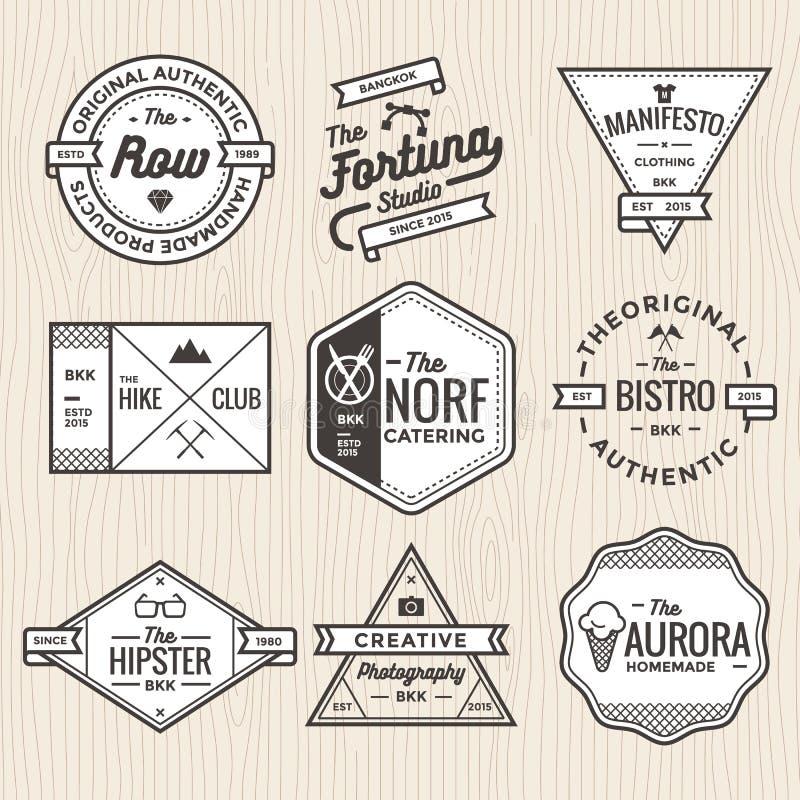 Grupo da linha fina crachás do vintage, bandeiras, etiqueta, fita e vetor do molde do logotipo para o negócio e a loja ilustração stock