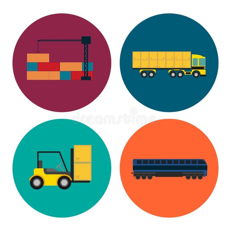 Grupo da logística e do ícone do transporte ilustração do vetor