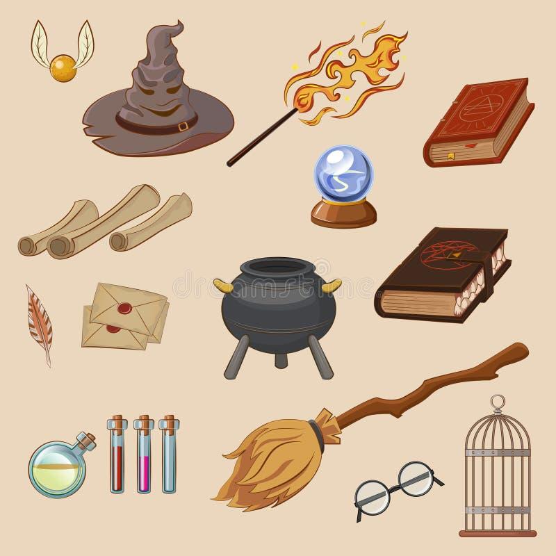 Grupo da mágica Mágico das coisas: feiticeiro, chapéu, livro mágico, rolo, poção, vassoura ilustração do vetor