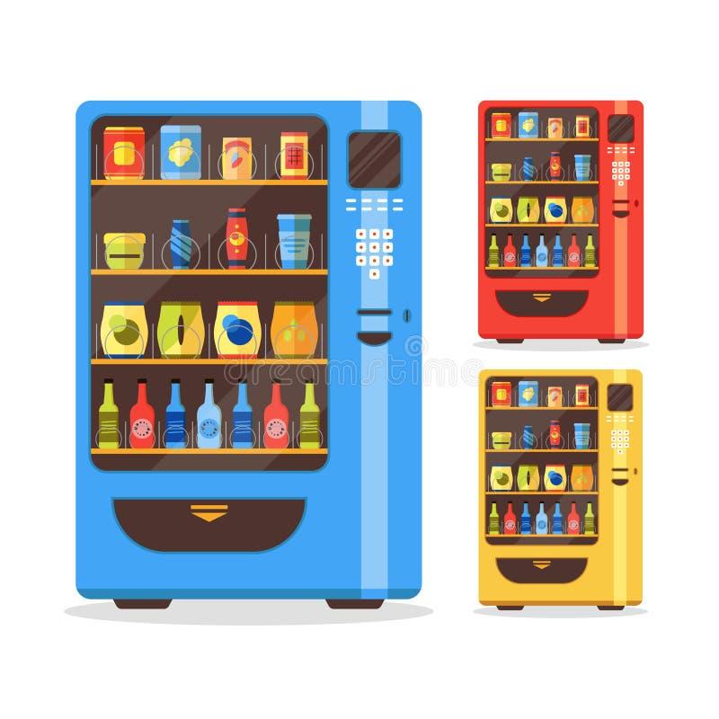 Grupo da máquina de venda automática com alimento e bebida Vetor ilustração stock