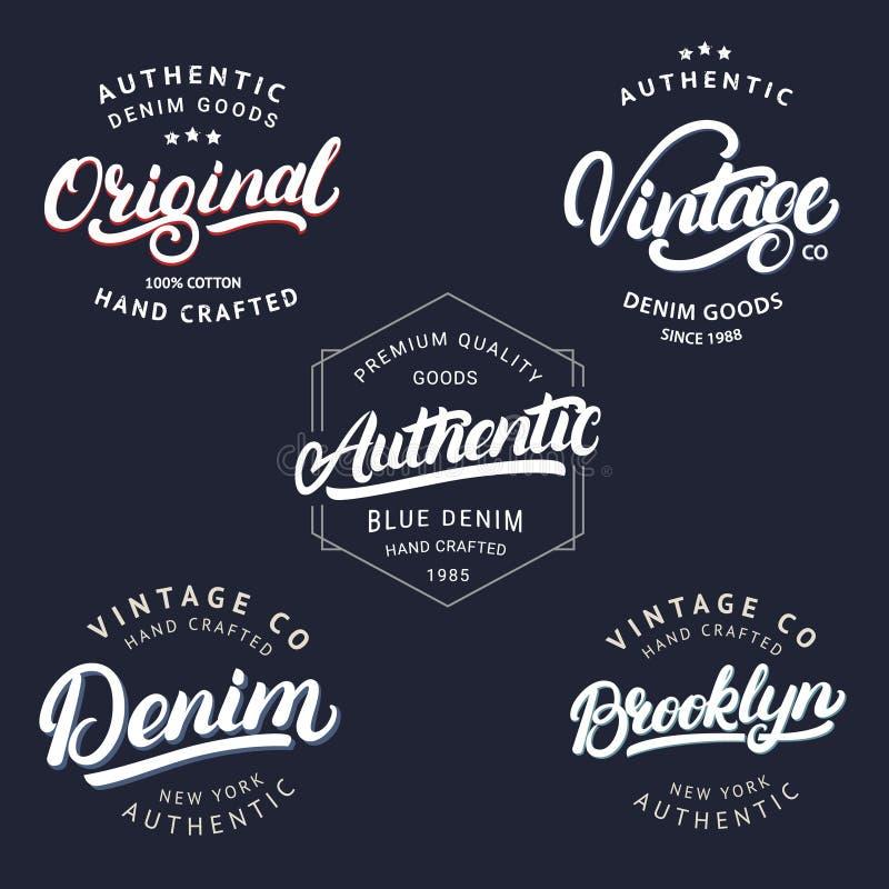Grupo da mão do vintage, da Brooklyn, da sarja de Nimes, a original e a autêntica escrita a rotulação para a etiqueta, crachá, có ilustração royalty free