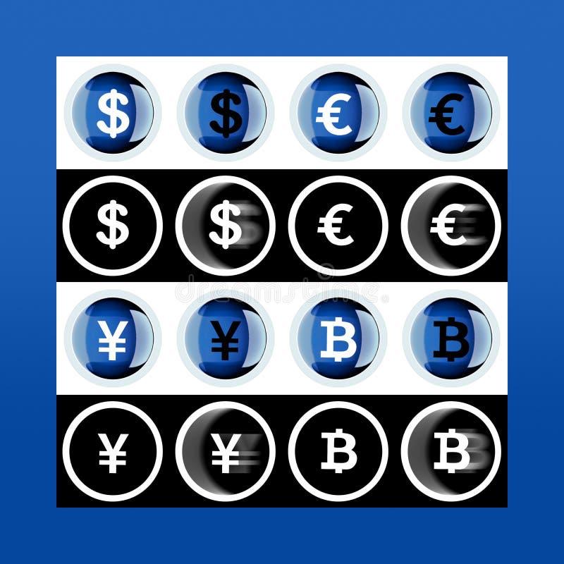 Grupo da maioria de ícones populares do dinheiro: bitcoin, euro, dólar, iene sobre ilustração royalty free
