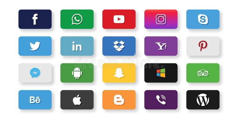 Grupo da maioria de ícones sociais populares dos meios: Twitter, linkedin, Youtub ilustração do vetor