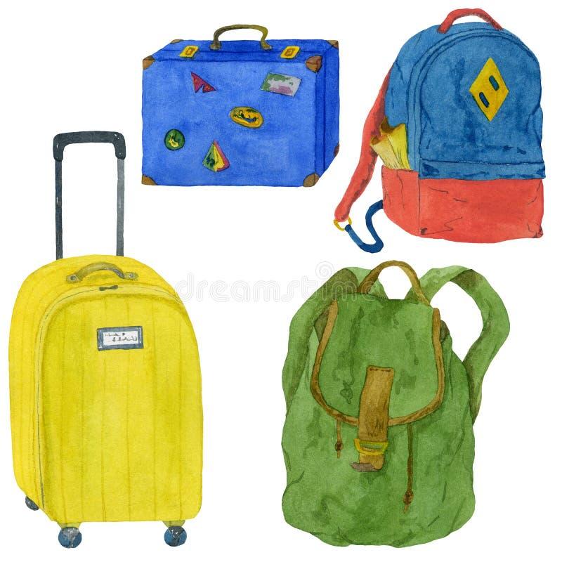 Grupo da mala de viagem e da trouxa Ilustra??o Handmade da aguarela ilustração do vetor