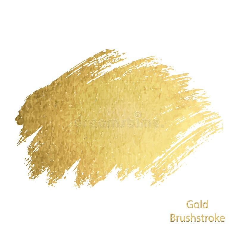 Grupo da mancha do curso da mancha da pintura do ouro do vetor Glitteri abstrato do ouro ilustração royalty free