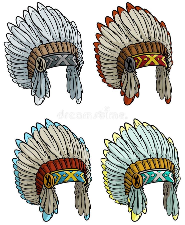 Grupo da mantilha do chefe indiano do nativo americano dos desenhos animados ilustração do vetor