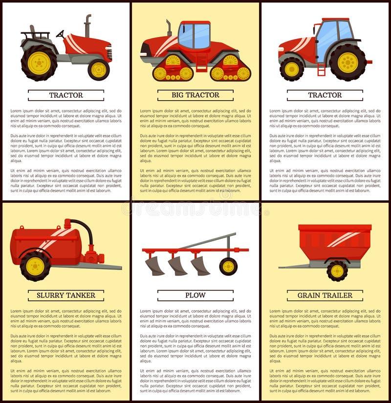 Grupo da maquinaria agrícola, bandeira do vetor dos desenhos animados ilustração royalty free