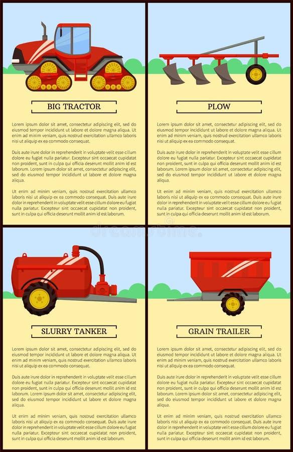 Grupo da maquinaria agrícola, bandeira do vetor dos desenhos animados ilustração do vetor