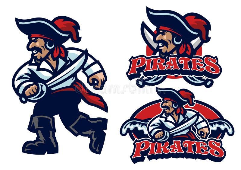 Grupo da mascote do pirata ilustração royalty free