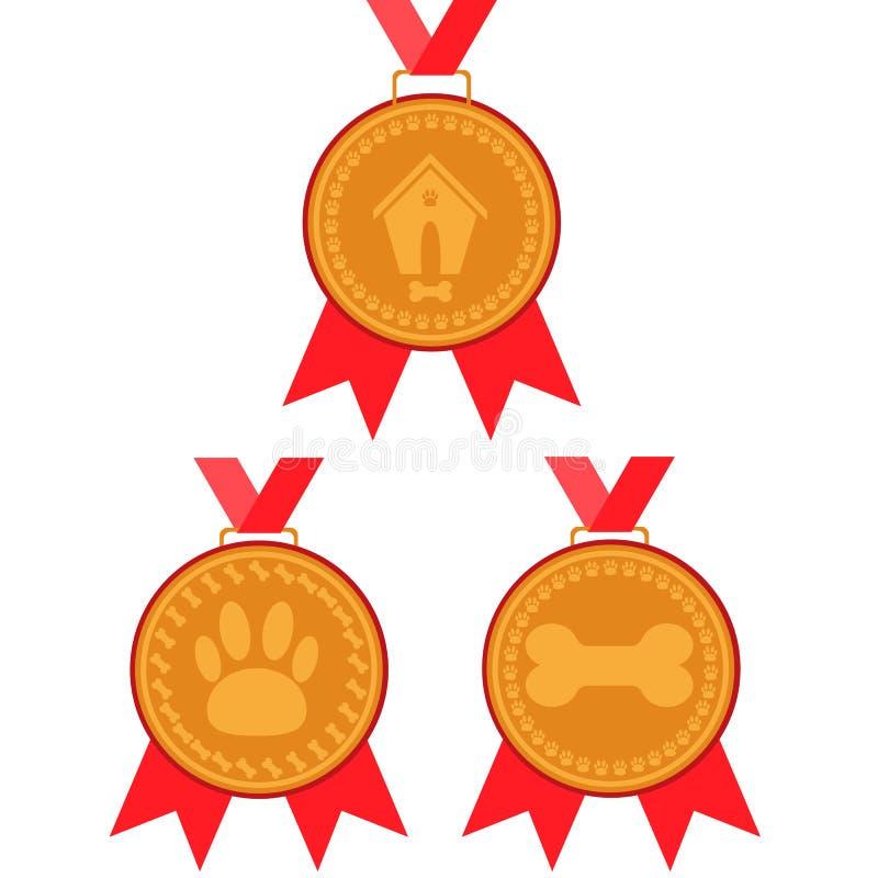 Grupo da medalha de ouro do cão prêmio com fita vermelha com uma imagem de uma casa de cachorro, dos ossos e das marcas do pé ilustração do vetor