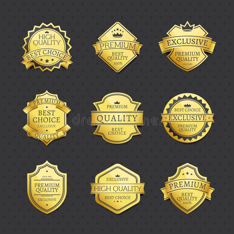 Grupo da melhor qualidade superior bem escolhida das etiquetas douradas ilustração royalty free