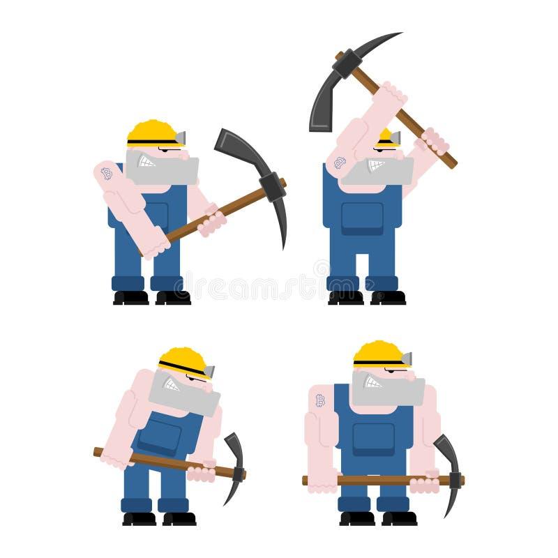 Grupo da mineração do trabalhador do mineiro mineiro com picareta O Pitman está no trabalho ilustração do vetor
