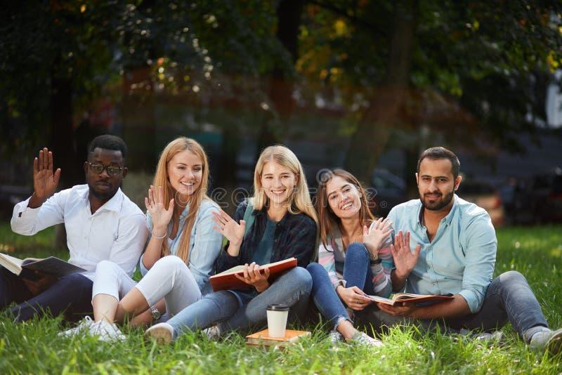 grupo da Misturado-raça de estudantes que sentam-se junto no gramado verde do campus universitário foto de stock