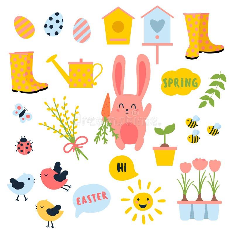 Grupo da mola da Páscoa do vetor Coelho, ovos, sol, tulipa ilustração royalty free