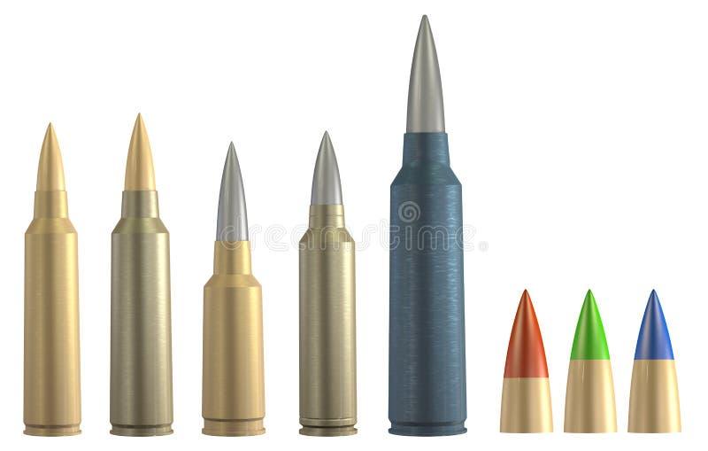 Grupo da munição do rifle 3d ilustração royalty free