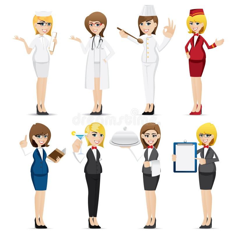 Grupo da ocupação da mulher dos desenhos animados ilustração do vetor
