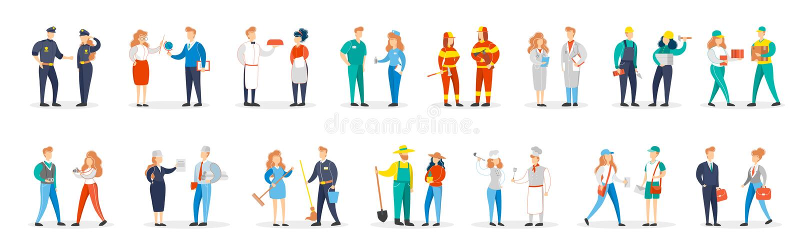 Grupo da ocupa??o Coleção de pares dos povos no vário uniforme ilustração stock