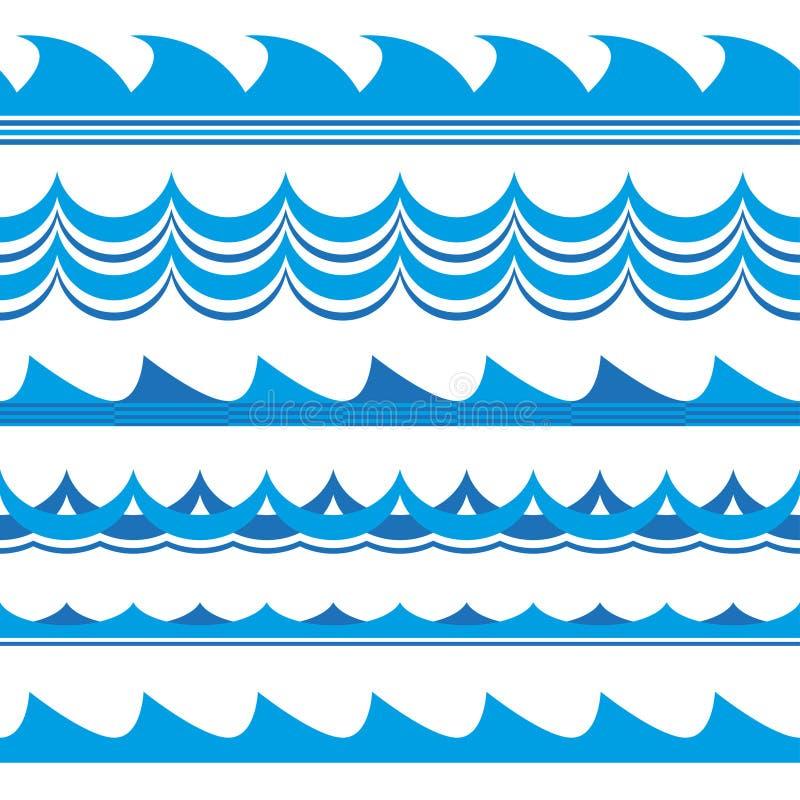 Grupo da onda Acena o teste padrão sem emenda Ondas do mar e de oceano isoladas no fundo branco Ilustração do vetor ilustração do vetor