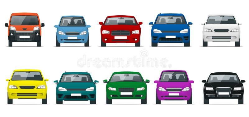 Grupo da opinião dianteira do carro Condução de veículos na cidade Vector a ilustração lisa do estilo isolada no fundo branco ilustração royalty free
