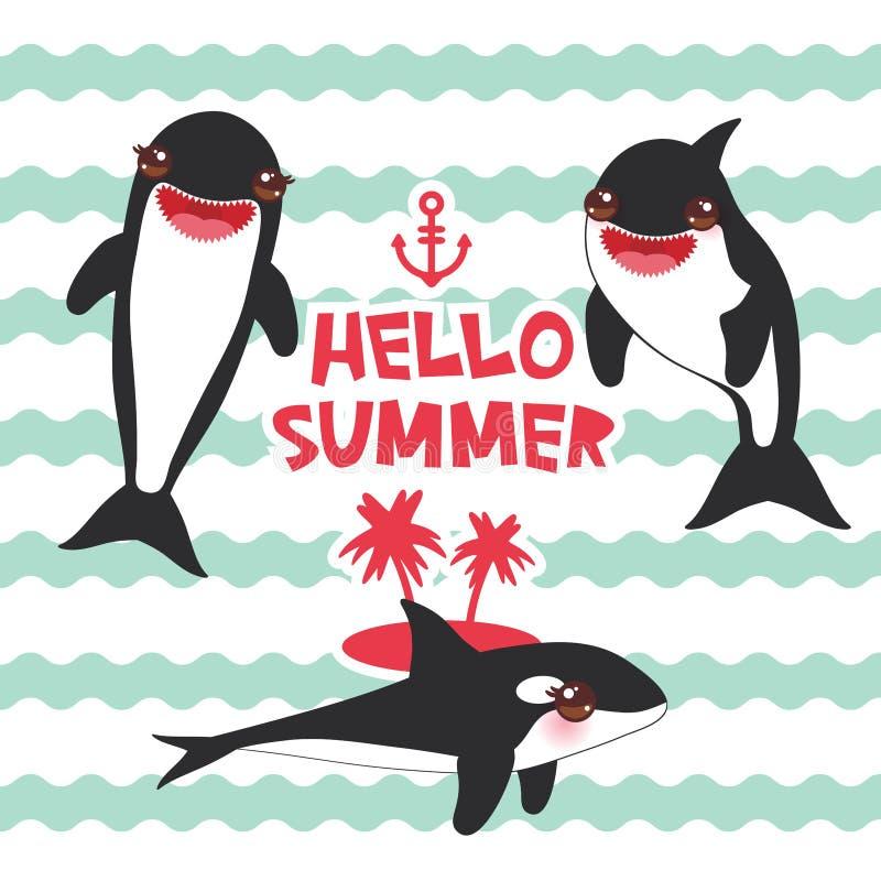 Grupo da orca dos desenhos animados Olá! verão, orca, baleia de assassino, lobo de mar Kawaii com mordentes cor-de-rosa e sorriso ilustração royalty free