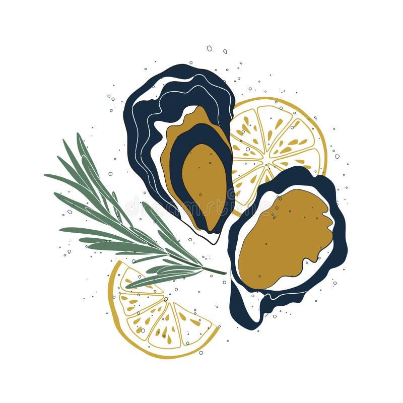 Grupo da ostra Ostras, fatias do limão e alecrins isolados no fundo branco Ilustração tirada mão com textura para ilustração do vetor