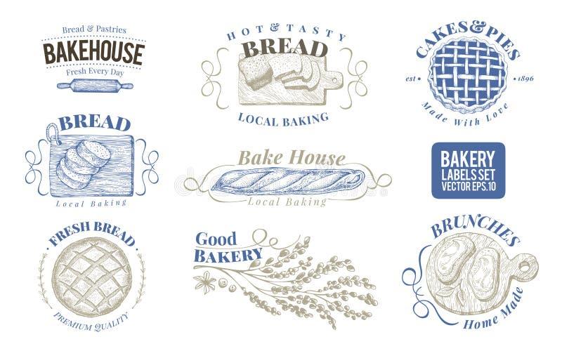 Grupo da padaria de etiquetas monocromáticas do vetor, crachás, emblemas Ilustrações retros tiradas mão Logo Design Templates Pod ilustração stock