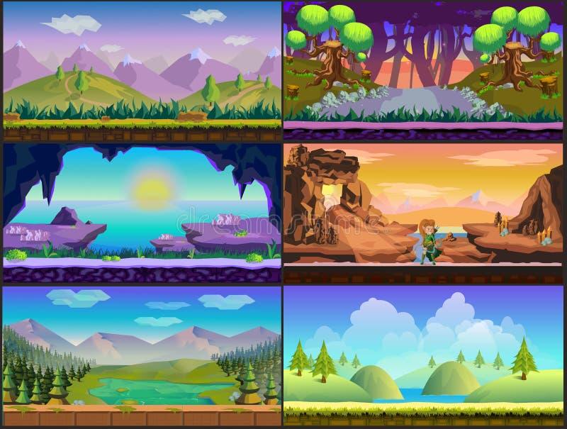 Grupo da paisagem da natureza do projeto de jogo dos desenhos animados imagens de stock