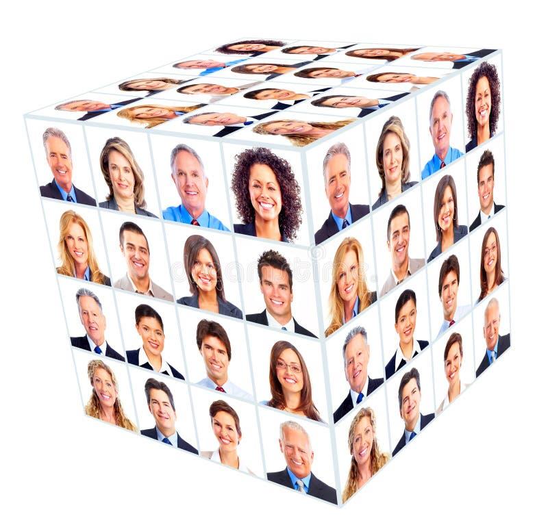 Grupo da pessoa do negócio. Colagem do cubo. foto de stock