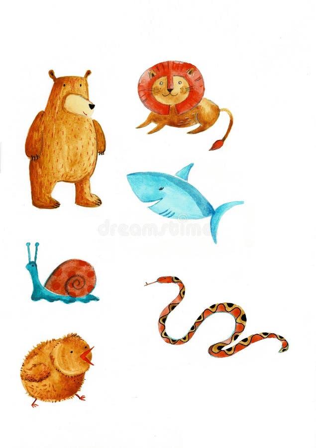 Grupo da prancheta de grupo tirado m?o da aquarela dos cliparts animais - p?ssaros, predadores e rapinas, grama-alimenta??o e roe ilustração stock