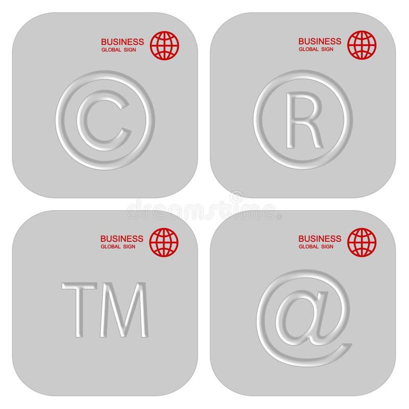 Grupo da prata de sinais do negócio Botões ou ícones ilustração royalty free