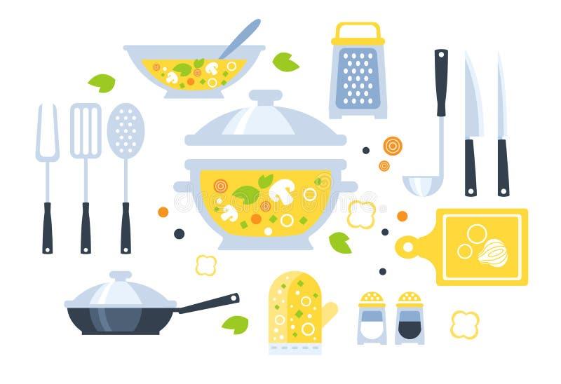 Grupo da preparação da sopa de ilustração dos utensílios ilustração stock